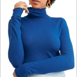 Free people blue thermal knit top